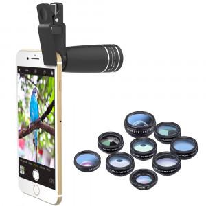 Kit lentes para móviles Gloxy 12 en 1 con Telefoto 10x