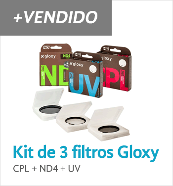 Kit de tres filtros CPL, UV, ND4 Gloxy