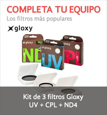 Kit de tres filtros CPL, UV, ND4 Gloxy
